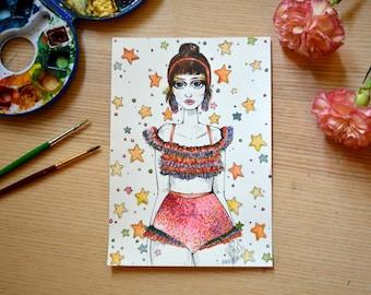 Original Fashion Illustration - Ruffle Girl