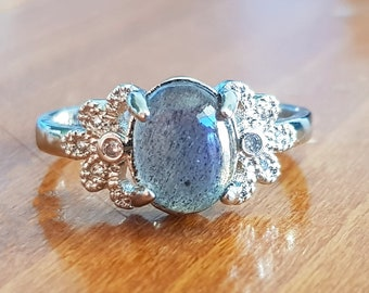 Sterling Silver Ring With Stormy Grey Labradorite