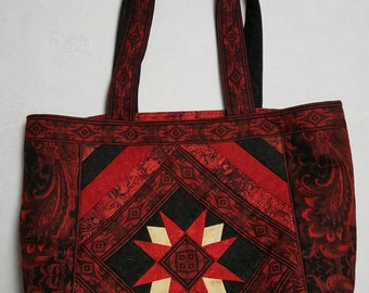Large Tote Bag in Red and Black