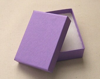 10 Purple Cotton Filled Jewelry Boxes High Quality 3 1/8 x 2 1/4 x 1 inch - Medium