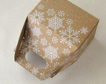 Snowflake Kraft Mini Gable Gift Boxes 4 x 2.5 x 2.5 inches - set of 3