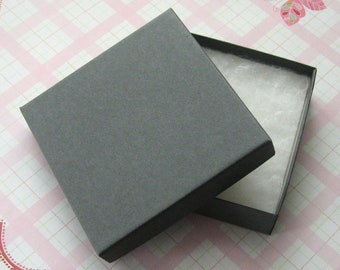 10 Matte Gray Jewelry Boxes Cotton Filled High Quality 3.5 x 3.5 x 7/8 inch - Large