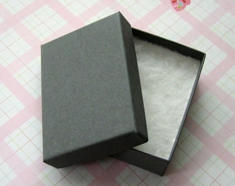10 Matte Gray Cotton Filled Jewelry Boxes High Quality 3 1/8 x 2 1/4 x 1 inch - Medium