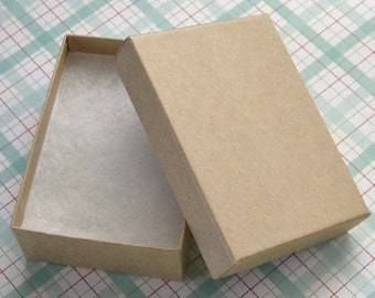 10 Kraft Cotton Filled Jewelry Boxes High Quality 3 1/8 x 2 1/4 x 1 inch - Medium