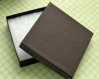 10 Cotton Filled Jewelry Boxes Matte Chocolate Brown High Quality 100% Recycled 3.5 x 3.5 x 7/8 inch - Large