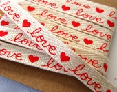 Valentine Ribbon Red Love Hearts Printed Cotton Twill Tape 3/8 inch - 10 yards