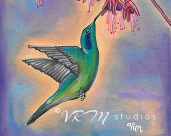 Hummingbird Heaven - folk art print - mexican folk art - hummingbird - bird art - bird lovers gift - botanical - nature - fine art print