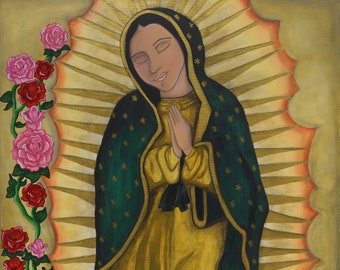La Virgen - mexican folk art print - mexican latin art - our lady of guadalupe - blessed mother - virgin mary - rose art - fine art print