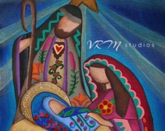 Rejoice - mexican folk art print- christmas art - nativity- baby jesus - mother mary - virgin mary - holidays - religious - fine art print