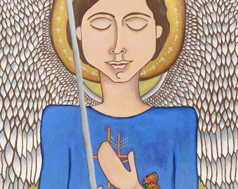 He is Our Refuge and Strength - mexican folk art print - mexican latin art - male angel art - religious - heavenly - spiritual - fine art