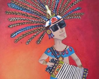 Conjunto Warrior - mexican folk art print - mexican latin art - aztec - tejano - music - azteca -polka -  accordion - fine art print