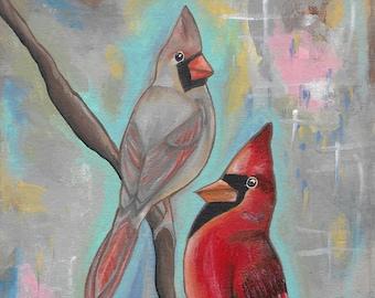 Mr and Mrs C - folk art print - mexican folk art - southwestern art - texas - male and female cardinal - bird art - cardinals-fine art print