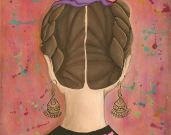 The Perennial - mexican folk art print - frida kahlo - latin art - mexican woman - braids - latina - botanical - floral - fine art print
