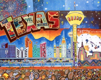 In The Heart of Texas - folk art print - san antonio - texas - the tower of americas - craft beer- city skyline - wall art - fine art print