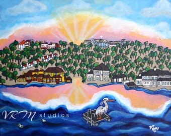 Morning View, Horseshoe Bay Texas - mexican folk art print - pop art - Lake LBJ - texas art - lake house decor - sunrise - fine art print