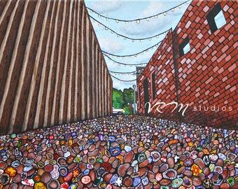 Pop a Top Again, College Station TX - folk art print- pop art - aggies - texas a&m - craft beer - bar wall art - happy hour - fine art print