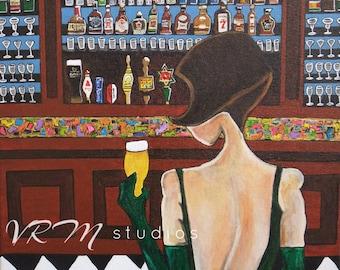 Beauty and the Beer - folk art print - bar art - craft beer gifts - bar art decor - fashion art - happy hour art - girly - fine art print