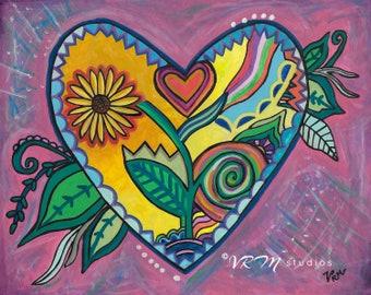 Seeds of Love - folk art print - mexican folk art - heart art - sunflower art - hearts painting - pink wall decor - whimsy- fine art print