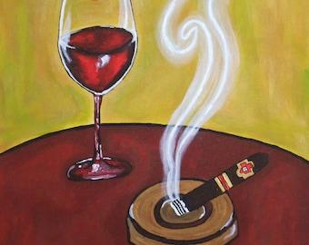 Wine and Smoke - folk art print - bar wall art - wine art - cigar art - smoke - happy hour art - cocktail art - lipstick art - fine art