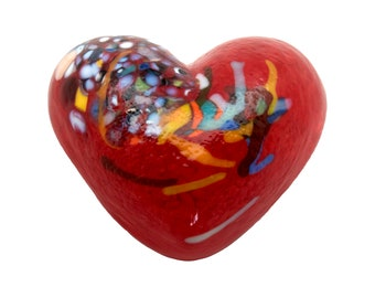 """Heart  - Lipstick Red - Solid Glass Paperweight """"Thinking of You"""" - Dehanna Jones  Handmade in Seattle"""