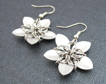 Tiny Frost White Scale Flower Earrings - Scalemaille Earrings - Ready to Ship!