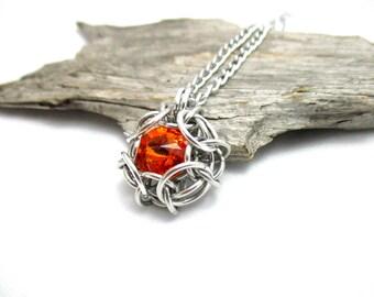 Tangerine Swarovski Crystal Pendant - Phaedra Chainmaille Pendant - Swarovski Crystal Chainmail Pendant - Crystal Pendant