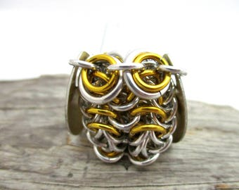 Gold Owl Pendant Necklace - Chainmaille Owl Pendant - Owl Pendant - Chainmail Owl