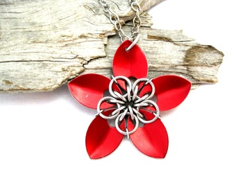 Red Scalemaille Flower Necklace