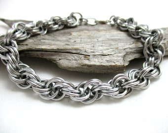 """1/4"""" Silver Double Spiral Chainmaille Bracelet"""
