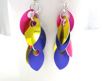 Purple, Yellow & Pink Shaggy Leaves Multicolored Scalemaille Earrings - Ready to Ship!