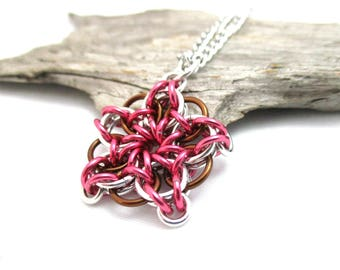 Chainmail Star - Star Chainmaille Pendant - Celtic Star Pendant Necklace - Pink & Brown Chainmaille Pendant