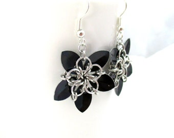 Tiny Black Scale Flower Earrings - Scalemaille Earrings - Ready to Ship!
