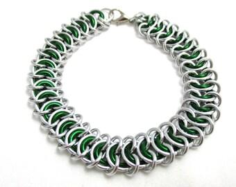 Green Vertebrae Chainmaille Bracelet - Green Chain Maille Bracelet - Chain Bracelet - Wide Bracelet