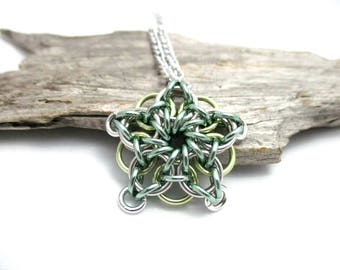 Seafoam Green & Yellow Star Chainmaille Pendant - Celtic Star Pendant Necklace