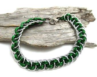 Dark Green Chain Maille Bracelet - Green Viperbasket Chainmaille Bracelet - Chain Bracelet