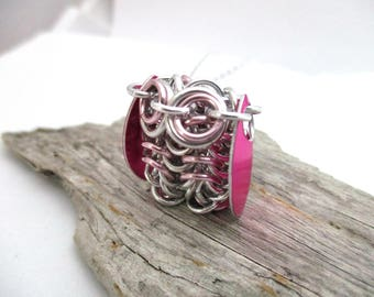 Pink Owl Pendant Necklace - Chainmaille Owl Pendant - Owl Pendant - Chainmail Owl