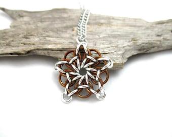 Star Chainmaille Pendant - Celtic Star Pendant Necklace - Brown & Silver Chainmaille Pendant