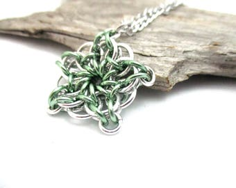 Seafoam Green & Silver Star Chainmaille Pendant - Celtic Star Pendant Necklace