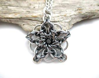 Star Chainmaille Pendant - Celtic Star Pendant Necklace - Grey & Silver Chainmaille Pendant