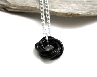 Black Mobius Chainmaille Necklace - Black Mobius Pendant - Chain Maille Pendant with Chain - Fidget Necklace - Aluminum Necklace