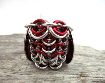 Red Owl Pendant Necklace - Chainmaille Owl Pendant - Owl Pendant - Chainmail Owl