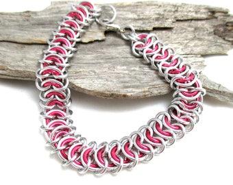Dark Rose Vertebrae Chainmaille Bracelet - Dark Rose Pink Chain Maille Bracelet - Chain Bracelet - Wide Bracelet