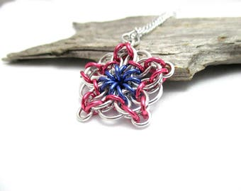 Chainmail Star - Star Chainmaille Pendant - Celtic Star Pendant Necklace - Pink & Purple Star Pendant
