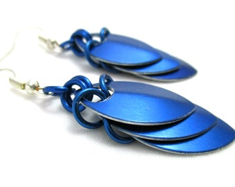 Blue Layered Scalemaille Earrings - Blue Scale Earrings w/ Blue Jump Rings - Ready to Ship!