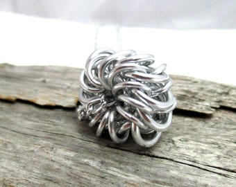 Whirly Bird Chainmaille Necklace - Chain Maille Pendant with Chain - Fidget Necklace - Aluminum Necklace - Aluminum Jewelry - Chain Mail