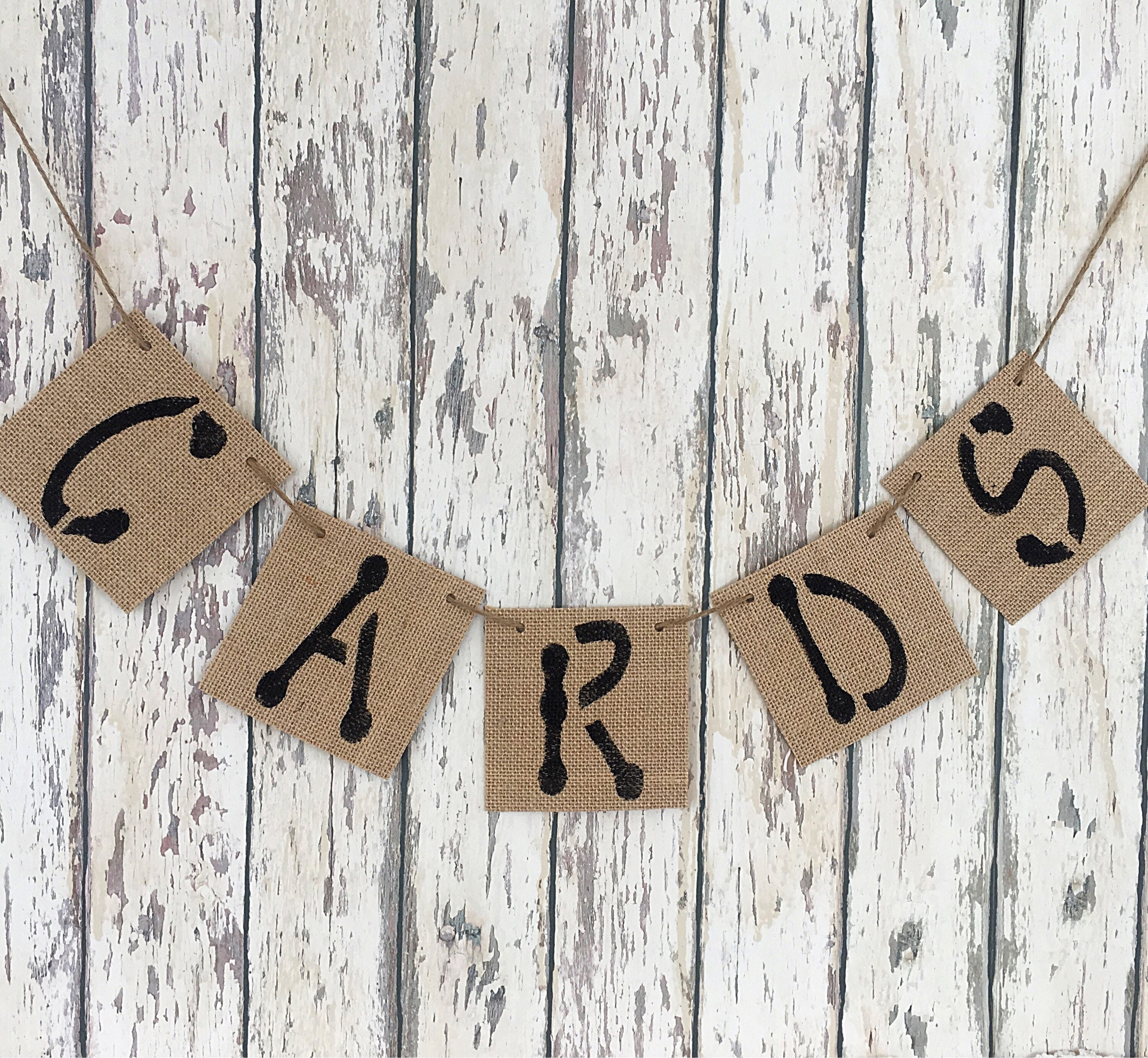 Large Cards Burlap Banner Rustic Cards Banner Rustic ...