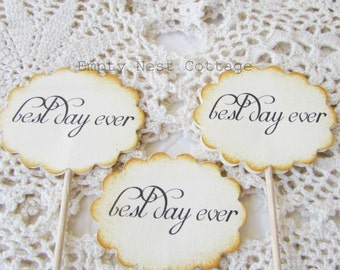 Best Day Ever Cupcake Toppers, Vintage Inspired Wedding, Cottage Chic Theme Wedding, Sweets Table