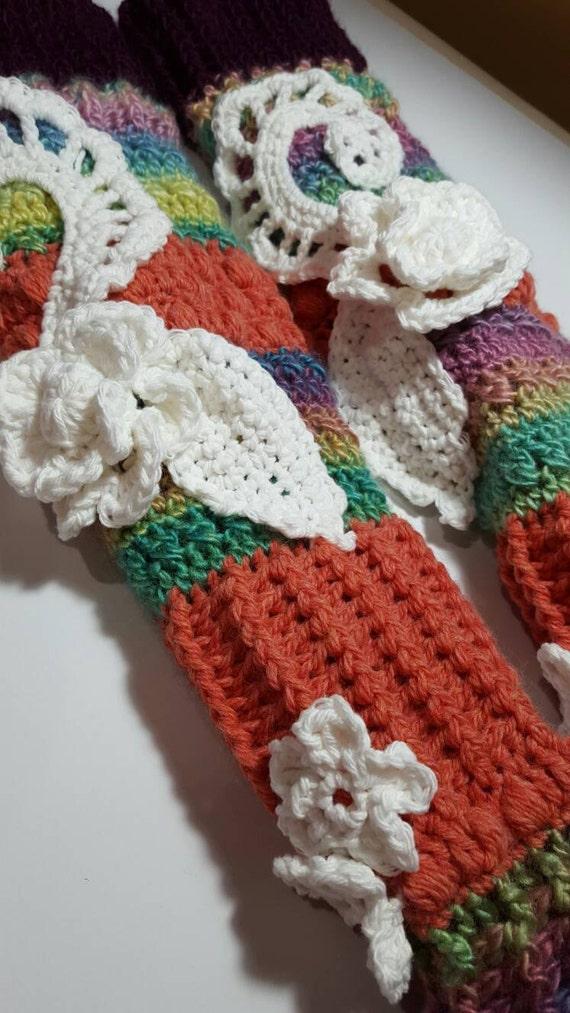 Boho Hippie Longstockings Knee High Slipper Sock Crochet Etsy