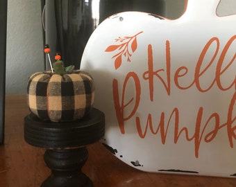 Handmade Black and Tan Pumpkin Pincushion