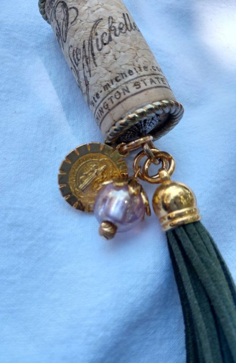 Keychain with Leather Tassel,focal bead and St Benedict medal